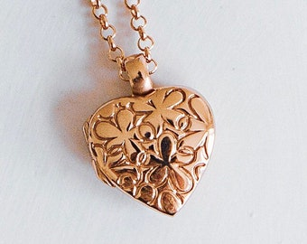 Rose Gold Heart Locket Necklace * Personalized with 40 Engraved Characters * 2 Picture Photos * Memorial Keepsake * Mourning Charm *