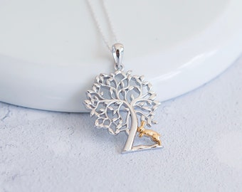 Personalized Sterling Silver and 18ct Gold Tree of Life with Rabbit Necklace for Women or Girls *  Animal Pendant