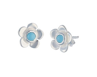 Sterling Silver and Turquoise Buttercup Flower Stud Earrings