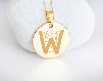 Personalised 9ct Yellow Gold Initial 'W' Alphabet Pendant Necklace