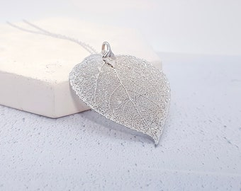 Sterling Silver Aspen Leaf Necklace for Women or Girls * Personalized with 40 Characters * Genuine Electroplated Leaf Nature Pendant