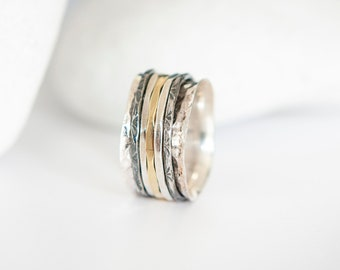 Sterling Silver Mixed Metallic Spinner Ring with Oxidized Rotating Bands