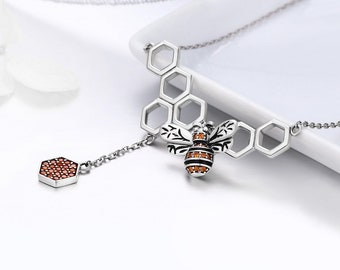 Personalized Sterling Silver and Crystal Honey Bee Necklace for Women * Bumble Bee Animal Pendant Design