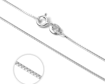 1mm Box Chain * 14 16 18 20 22 inches * Sterling Silver