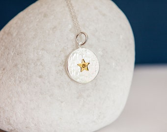 Sterling Silver and 18ct Gold Star November Citrine Birthstone Pendant Necklace