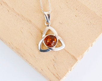 Sterling Silver Celtic Knot Triquetra Necklace for Men or Women * Personalized With 40 Characters * Heritage Amber Gemstone Pendant Design