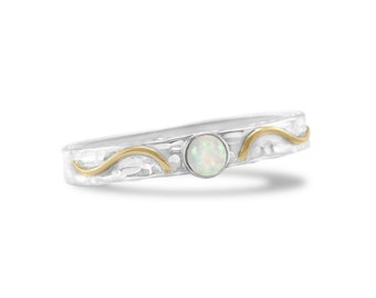 Personalized Sterling Silver Ring with White Opal Gemstone Textured Band and Gold Fill Detail