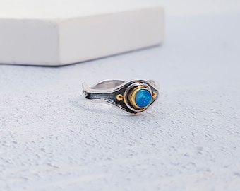 Personalized Oxidised Sterling Silver Blue Opal Gemstone Ring for Women or Men - October Birthstone
