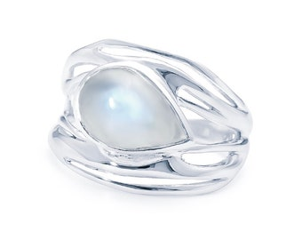Personalized Sterling Silver Rainbow Moonstone Ring for Women * Organic Gemstone Ring