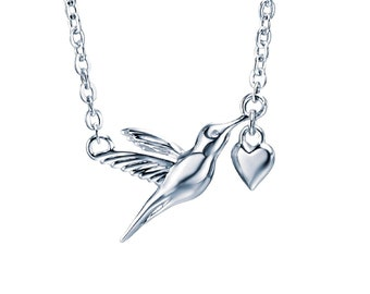 Sterling Silver Hummingbird with Heart Necklace for Women or Girls * Personalized with 40 Characters * Love Bird Animal Pendant