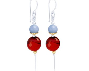 Sterling Silver and Red Agate Earrings for Women * Organic Gemstone Earrings Design *