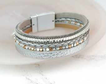 Personalised Metallic Grey Leather Bracelet with Square Crystals