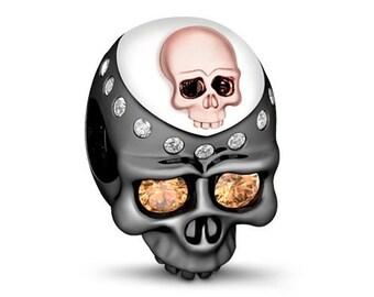 Skull Charm Bead * Sterling Silver * 4.5mm Inner Diameter * Fits most European Charm Bracelets