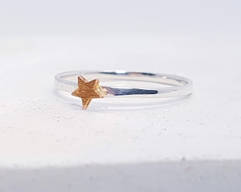 UK R Copper Star Stacking Ring * Sterling Silver * Slim Ring * Band Ring * Minimalist * Dainty * Hammered