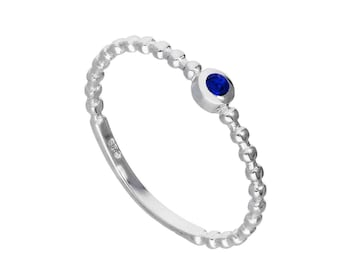 Personalized Sterling Silver and Sapphire Cubic Zirconia Beaded Stacking Ring - September Birthstone