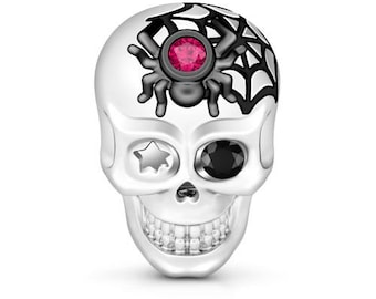 Skull with Spider Charm Bead * Sterling Silver * 4.5mm Inner Diameter * Fits most European Charm Bracelets