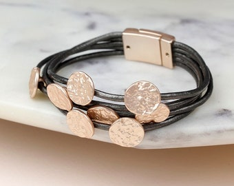 Personalised Layered Grey Leather Bracelet with Rose Gold Textured Discs