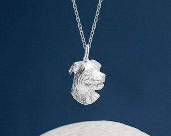 Personalised Sterling Silver Pitbull Dog Pendant Necklace