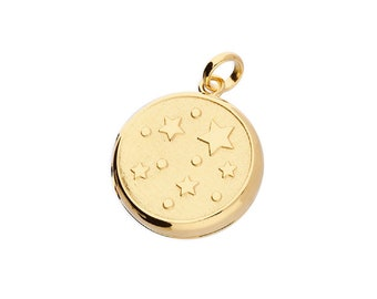 Gold Star Locket Necklace * Personalized with 40 Engraved Characters * 2 Picture Photos * Memorial Keepsake * Mourning Charm *