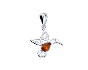 Sterling Silver and Amber Hummingbird Necklace for Women or Girls * Personalized with 40 Characters * Baltic Amber Bird Animal Pendant