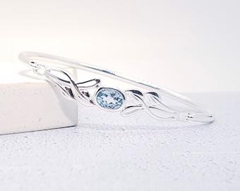Sterling Silver Celtic Knot Bracelet for Women * Personalized With 40 Characters * Heritage Blue Topaz Gemstone Bracelet Design