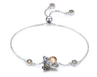 Personalised Bee Bracelet * Sterling Silver * Bumble Bee Gift * Worker Bee Jewelry * Honey Bee * Manchester Bee * Bee Pendant * Queen