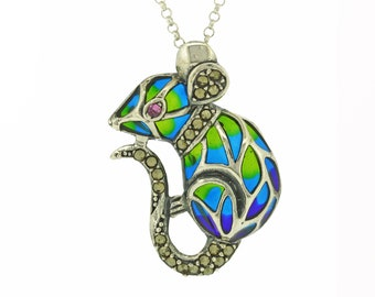 Sterling Silver Art Nouveau Field Mouse Pendant Necklace with Ruby