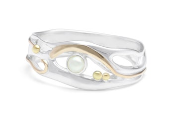 Personalized Sterling Silver Ring with White Freshwater Pearl Gemstone