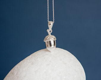Sterling Silver Acorn Pendant Necklace