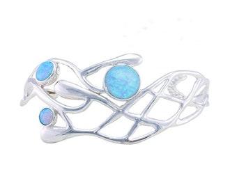 Personalized Sterling Silver Blue Opal Gemstone Bangle Bracelet for Women