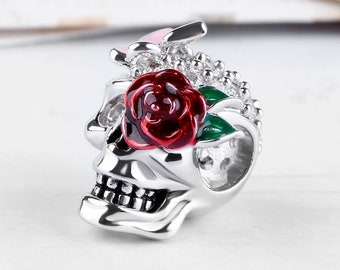 Skull with Butterfly & Rose Charm Bead * Sterling Silver * 4.5mm Inner Diameter * Fits most European Charm Bracelets