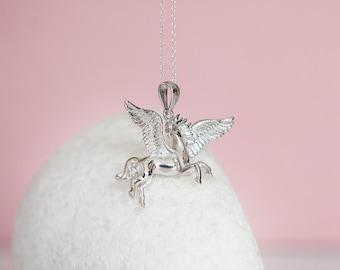 Sterling Silver Pegasus Pendant Necklace
