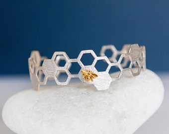 Sterling Silver and Gold Bumble Bee on Honeycomb Cuff Bangle Bracelet