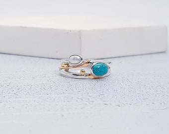 Personalized Sterling Silver Tibetan Turquoise and White Freshwater Pearl Gemstone Ring for Women