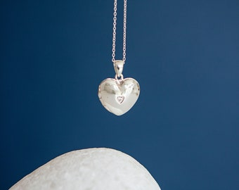 Sterling Silver Heart Locket Pendant Necklace with Cubic Zirconia