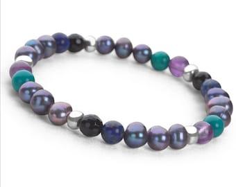 Personalised Freshwater Pearl, Onyx, and Lapis Lazuli bracelet * Stretch / Expandable