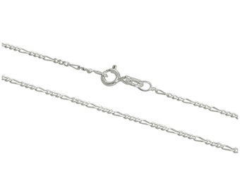 1.3mm Figaro Chain * 14 16 18 20 22 24 28 32 inches * Sterling Silver