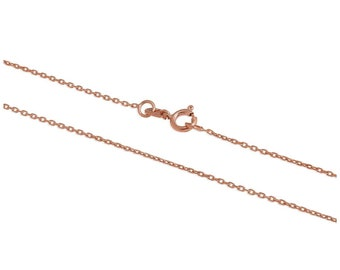 1mm Solid 9ct Rose Gold Hammered / Faceted Trace Cable Chain for Women or Girls - 16 18 20 24 inches
