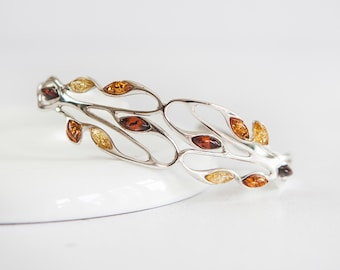Eilidh * Baltic Amber Bracelet * Sterling Silver * Amber Jewellery Gift * Genuine Amber * Amber Bangle * Honey Amber * Amber for Adults