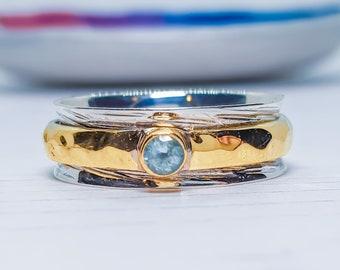Personalized Sterling Silver Spinner Ring for Women * Slim Band * Custom Thumb Ring * Sky Blue Topaz Gemstone *