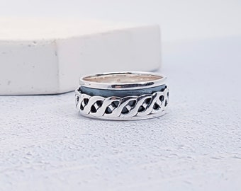 Personalized Sterling Silver Spinner Ring for Men or Women * Personalized With 10 Characters * Custom Thumb Ring * Oxidised Finish * Twisted