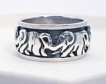 Sterling Silver Spinner Ring for Women * Personalized With Up To 10 Characters * Wide Band * Custom Thumb Ring * Elephant Family Design *