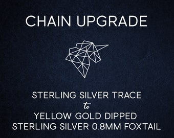Chain Upgrade 0.8mm Foxtail Chain 14 16 18 20 22 24 28 inches* 9ct Yellow Gold Dipped Sterling Silver * Best for Men, Women