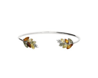 Personalized Sterling Silver and Amber Cuff Bracelet for Women * Baltic Amber Gemstone Leaf Bracelet * Nature Design *