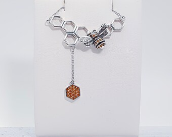 Sterling Silver and Crystal Honey Bee Necklace for Women * Bumble Bee Animal Pendant Design