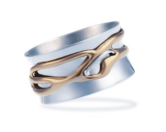 Sterling Silver Spinner Ring for Women * Personalized With Up To 10 Characters * Wide Band * Custom Thumb Ring * Organic Fluid Design *