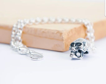 Sterling Silver Human Skull Jewelry for Men or Women * Personalized With Up To 40 Characters * Memento Mori Bracelet Design