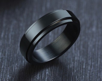UK W / US 11 / EU 65 Stainless Steel Spinner Ring for Men * Custom Thumb Ring * 6mm Black Brushed Finish *