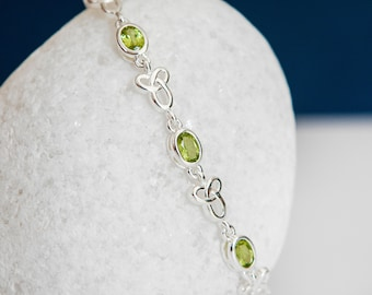 Personalised Sterling Silver and Peridot Celtic Motherhood Knot Bracelet
