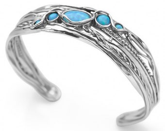 Sterling Silver Blue Opal Bracelet for Women * Personalized With Up To 40 Characters * Organic Gemstone Bangle *